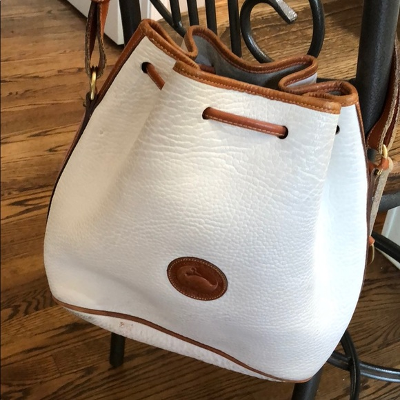 Prime Vintage Dooney Bourke White Leather Bucket Bag Bralicious Painted Fabric Chair Ideas Braliciousco